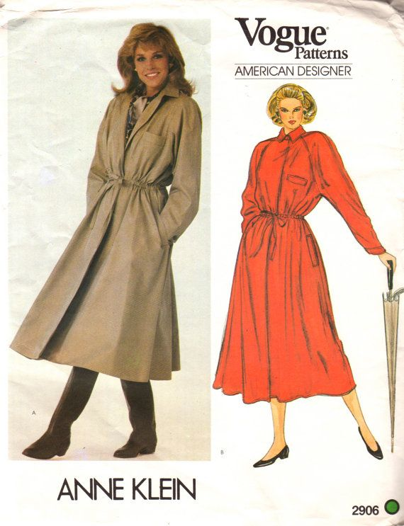 Vogue 2906 1980s Misses Blouson Flared Skirt Lined COAT Pattern Raincoat Anne Klein Womens Vintage  Sewing Pattern Size 10 Bust  32 UNCUT