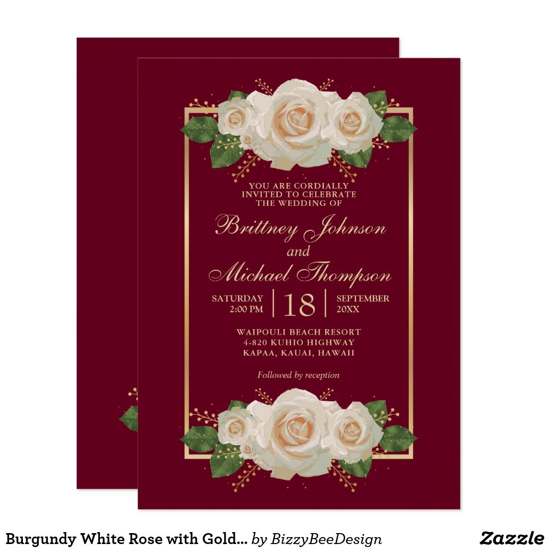 Burgundy White Rose with Gold Frame | Wedding Invitation | Wedding ...