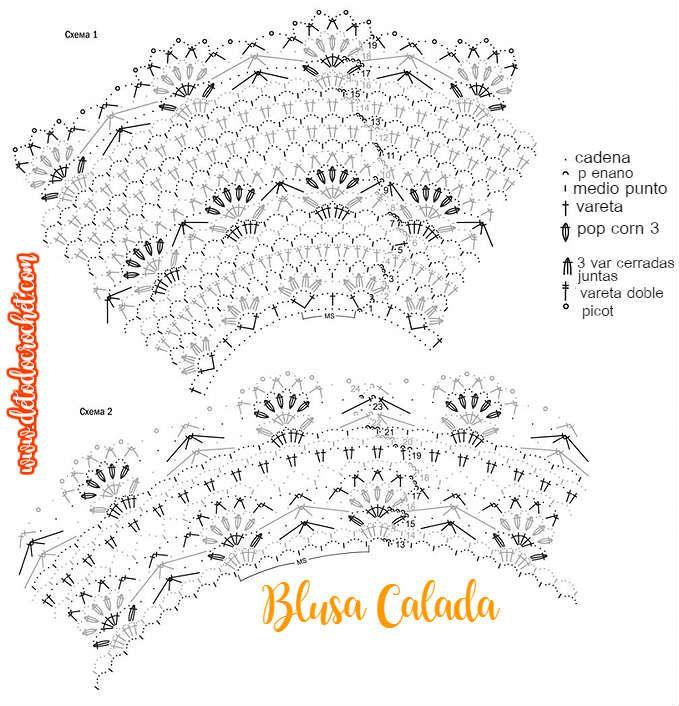 Blusa Calada con hilo de algodón con patrones y