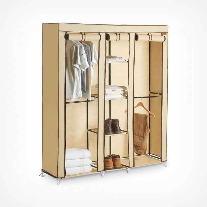 Cheap Portable Wardrobe With Drawers Canvas Effect Caravan Guesthouse Storage