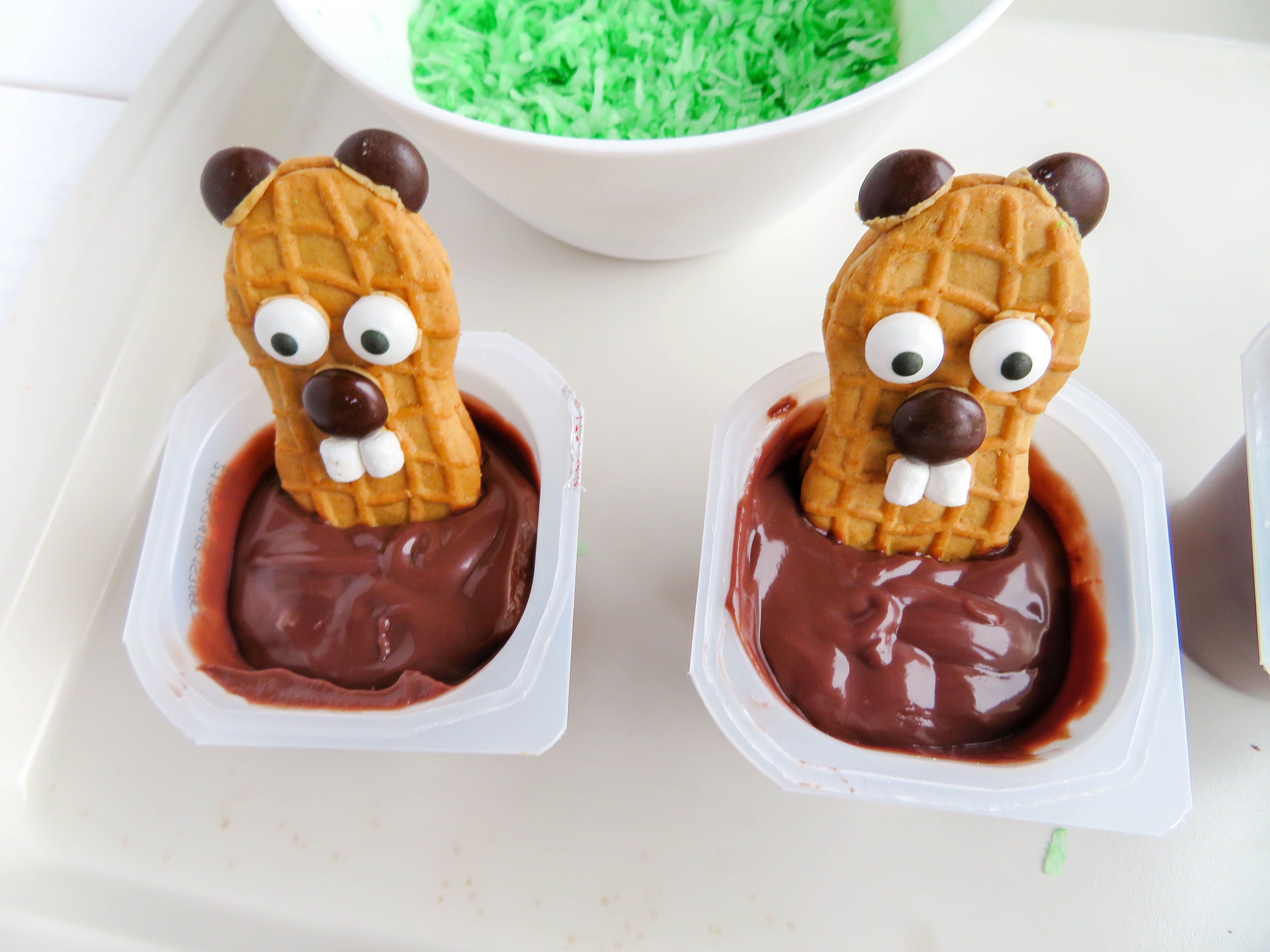 Happy Groundhog Day Pudding Cups