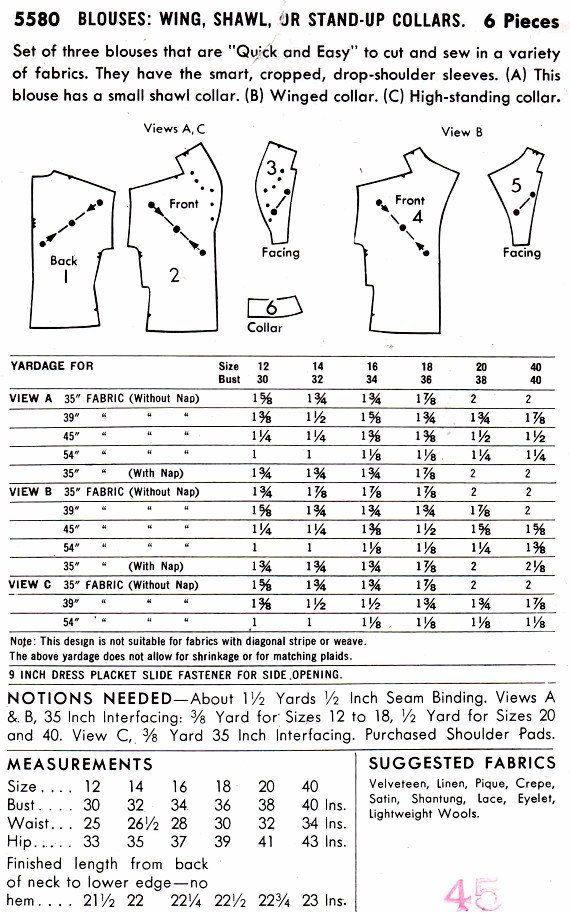 Butterick 5580 mujeres 1950 Mod blusas cuello variaciones chal ...