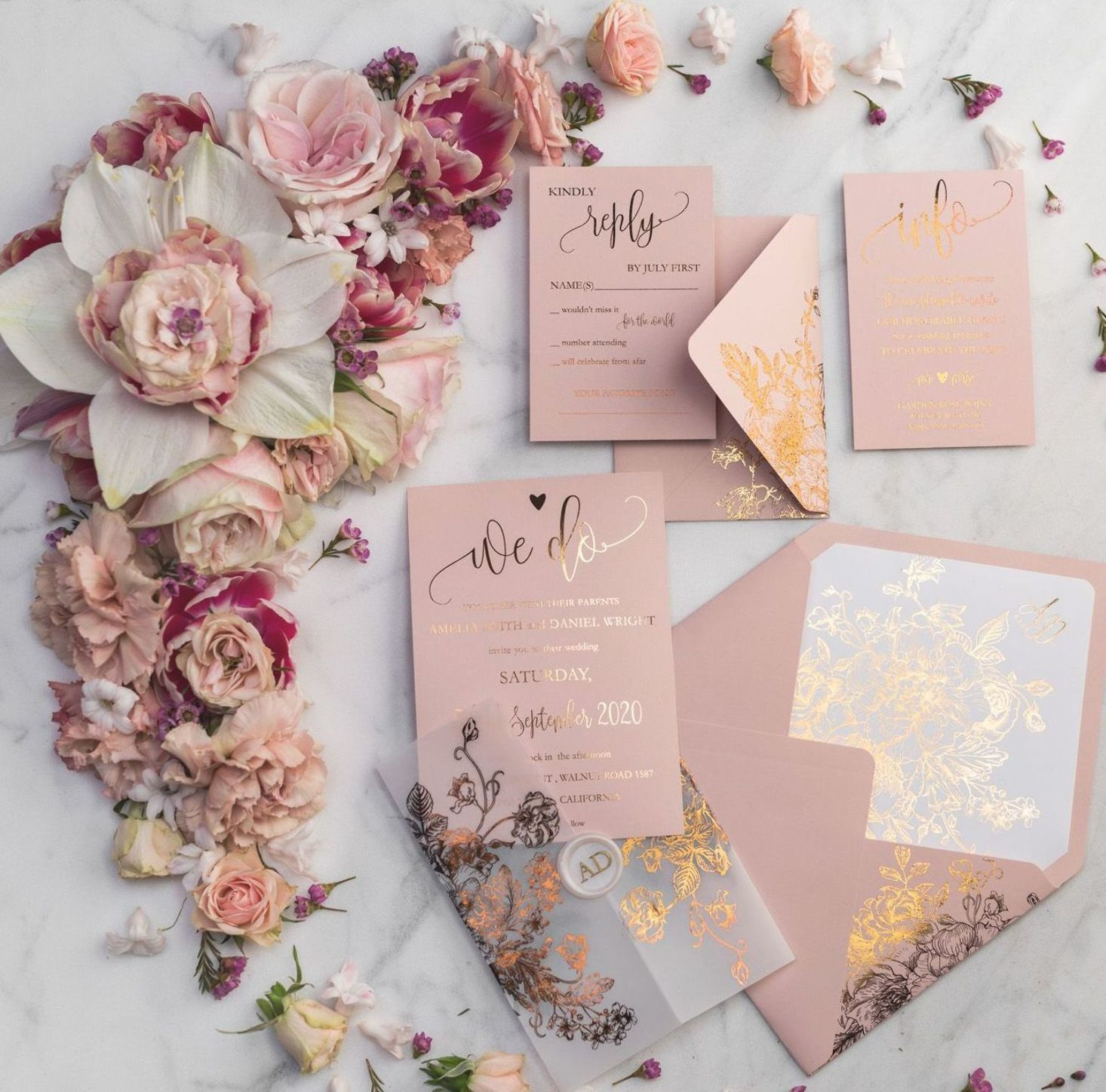 Custom Wedding Invitations Gold Foil Printing 02 Goldkalw Z Gold Wedding Invitations Polka Dot Wedding Invites Wedding Invitations