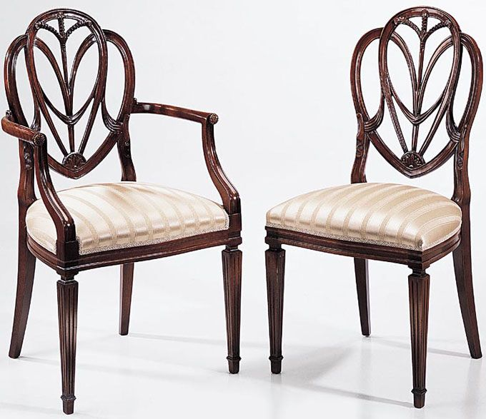Hepplewhite Shield Back Chair With Reeding On The Front Legs