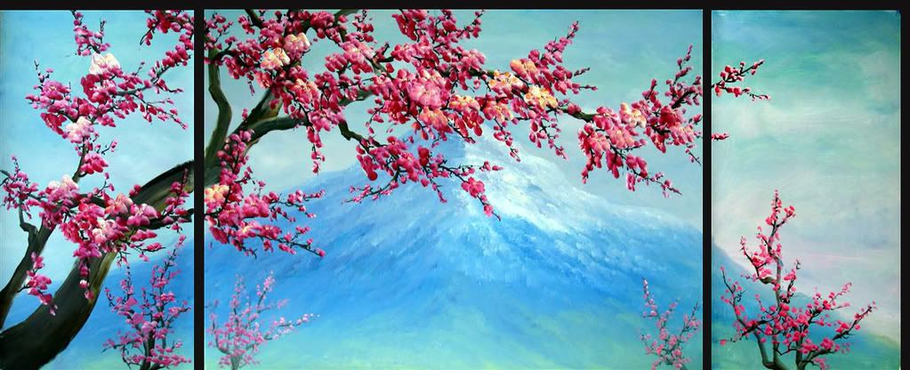 Plum blossom painting cherry blo 1023 416 crafty for Cherry blossom mural works