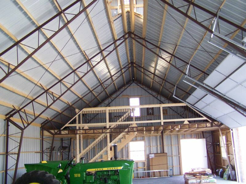 Metal building with loft gambrel roof or gable with tall for Pole barn garage with loft
