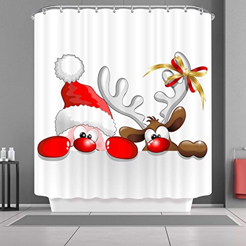 Vancar Xmas Merry Christmas Day Happy New Year Shower Curtain