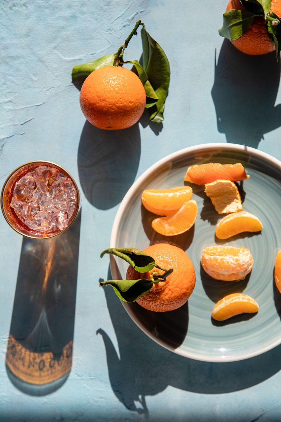 Mandarin still life in hard light professional food