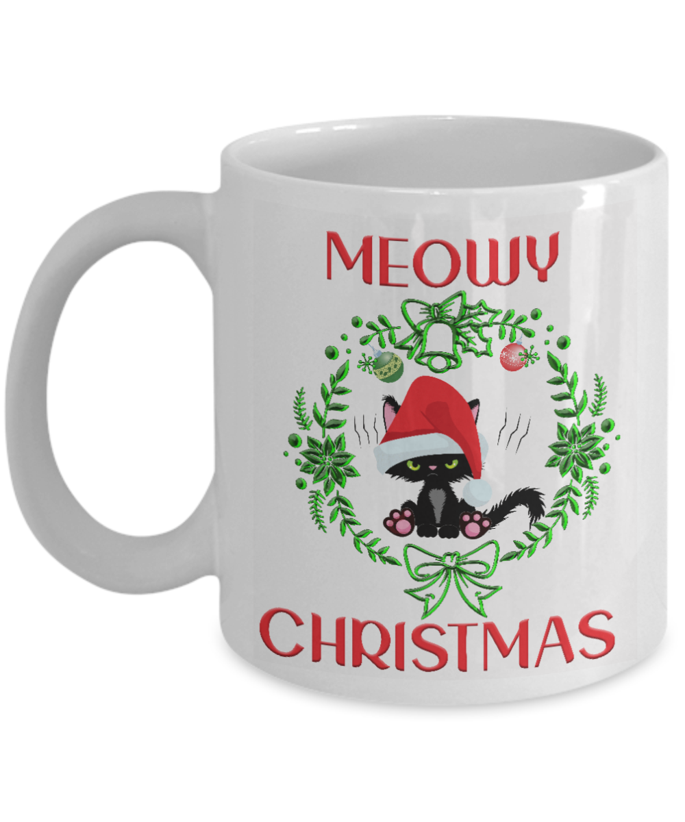 Meowy Christmas Cat Mug Gift Funny Angry Kitten Mom Dad