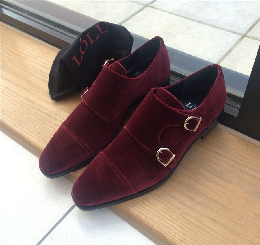 Burgundy Double Monk Strap Suede Leather Shoes Quality Leather Boots Dress Shoes Men