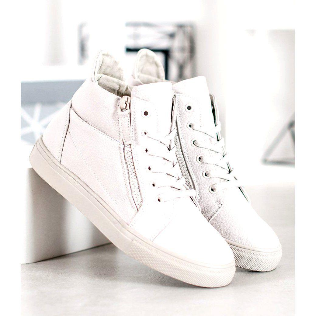 Sergio Leone Biale Trampki Na Platformie Wedge Sneaker White Sneaker Sneakers