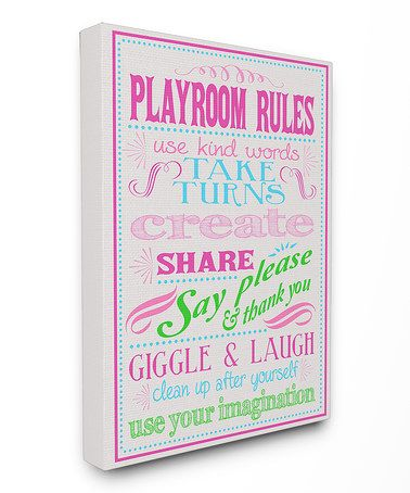 Look at this #zulilyfind! Gray & Pink 'Playroom Rules' Wrapped Canvas #zulilyfinds
