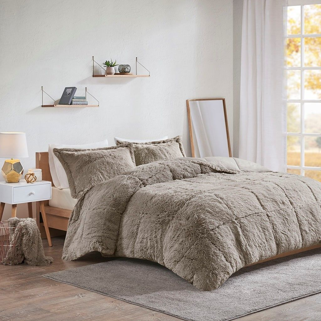 Grey Shaggy Faux Fur Comforter And Decorative Shams In 2020 Comforter Sets Fur Comforter Grey Comforter Sets