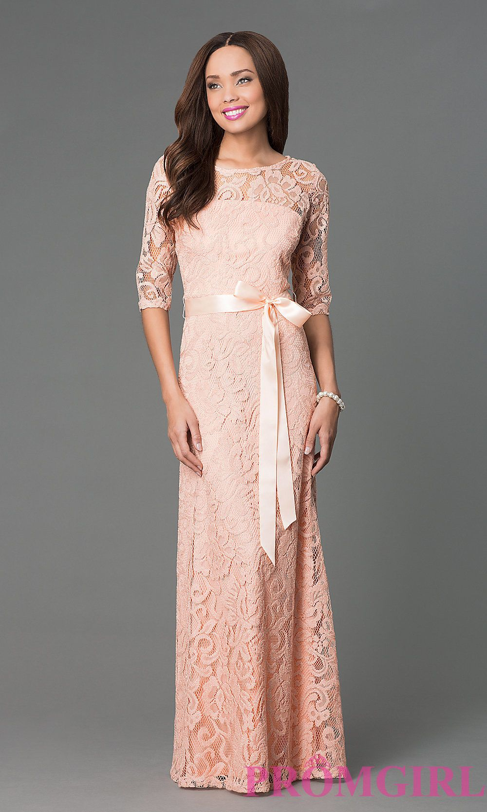 Long Lace Dress with Half Sleeves by Sally Fashion | Peach ...