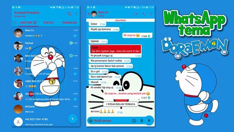 Download Whatsapp Tema Doraemon APK MOD versi Terbaru 2019 - Boredtekno.com