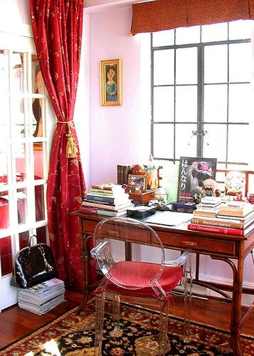 Apartment Therapy Wood Desk Ghost Chair Vignette French Doors Painted White Nyc Manhattan New York