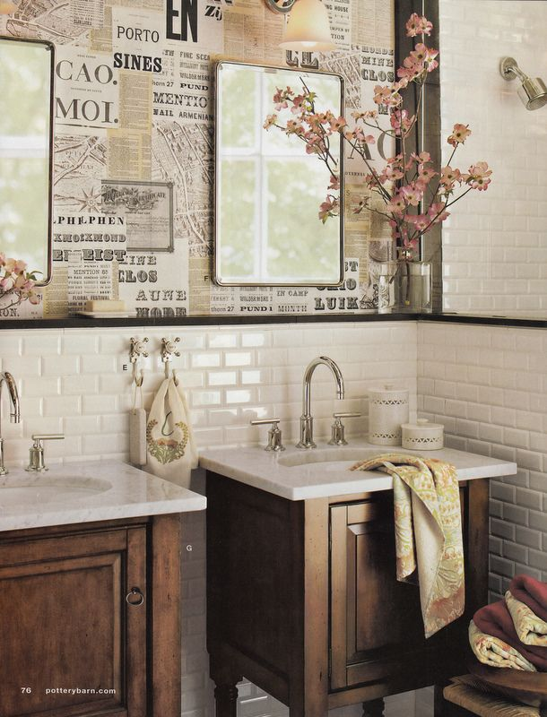 Small Place Style   Subway Tiles And Newspaper Wallpaper