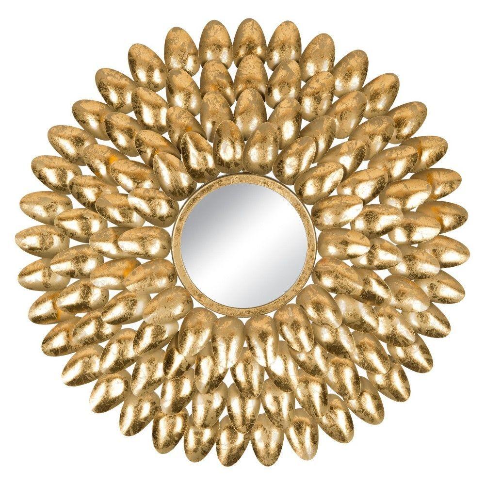 Sunburst Royal Leaf Decorative Wall Mirror - Safavieh, Gold ...