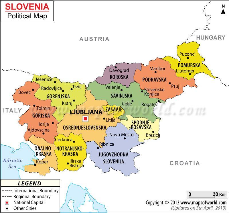 Political Map Of Slovenia Slovenian Roots Pinterest Slovenia - Slovenia map