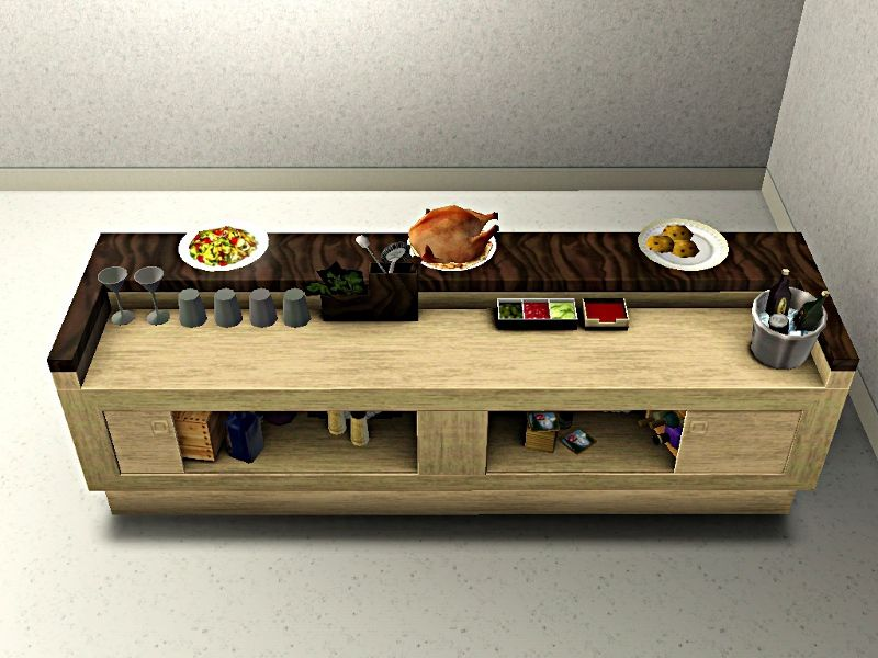 High Quality Mod The Sims   Less Formal Buffet Tables   NEW MESHES   Picnic, Bar,