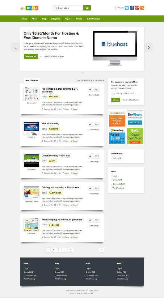 Deals - Vouchers, Printable Coupon Codes & Affiliate Site Theme ...