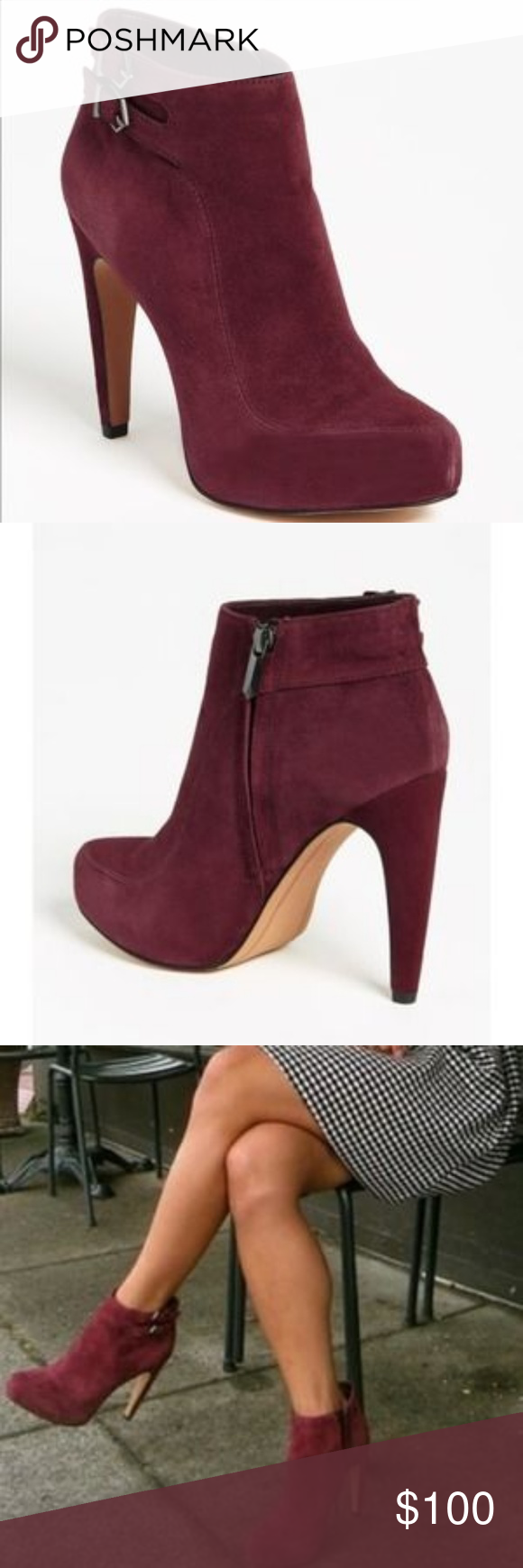a9bb85d5371b0 Sam Edelman  Kit  ankle boots in burgundy suede Sam Edelman  Kit  ankle  boots in burgundy suede Worn once EUC. Very unnoticeable spots and scuff.  color ...