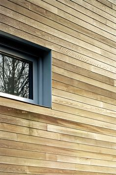 Grey Window Reveal Recessed Behind Timber Cladding Barns
