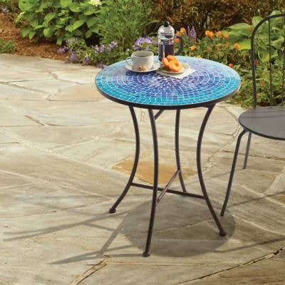 Outdoor Mosaic Bistro Table In Blue 24 X 28 Bistro Furniture Outdoor Patio Decor Outdoor Patio Chairs
