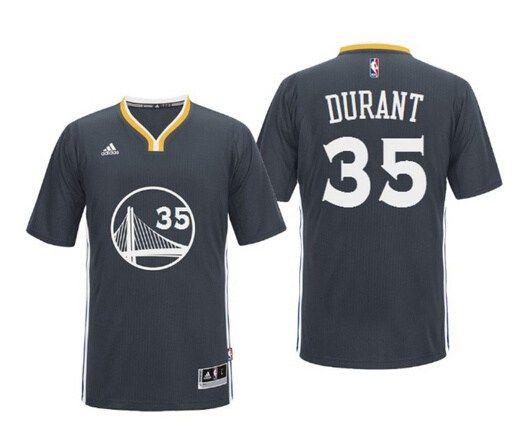 1924ce04300 Men s Golden State Warriors  35 Kevin Durant Black Short-Sleeved Revolution  30 Swingman Basketball Jersey