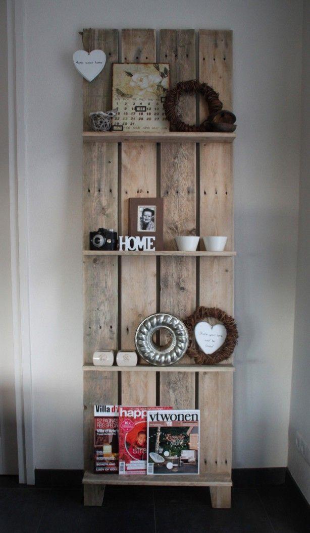 Mooi Tijdschriftenrek Wandrek Zelf Gemaakt Van Pallethout Thuisdecoratie Pallethout Wandrek