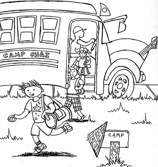 Summer Camp Arrived On Summer Camp Location With School Bus Coloring Page Coloring Pages Summer Coloring Pages Online Coloring Pages