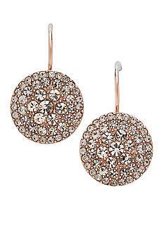Fossil Pave Drop Disk Rose Gold Earrings Belkcom Grad
