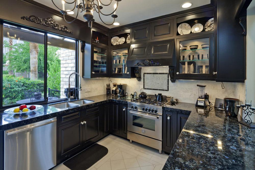 40 Sleek Black Kitchen Ideas And Cabinets 2020 Photos In 2020 Black Granite Countertops Kitchen Design Ideas Dark Cabinets Dark Granite Countertops Kitchen