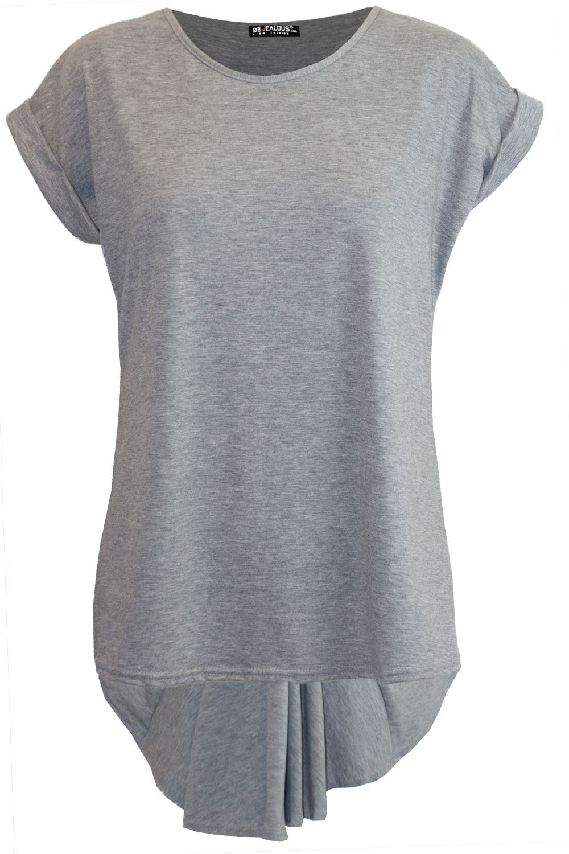 Plus Size Womens Plain Short Sleeve Hanky Hem Ladies T-Shirt Swing Top 16-26