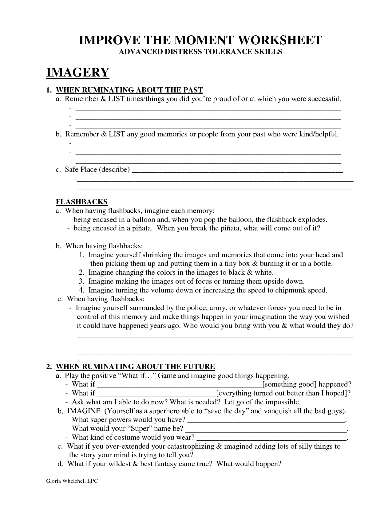 IMPROVE THE MOMENT WORKSHEET DBT Self Help – Dbt Worksheets
