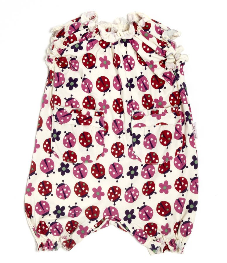 5a3618b30066 Lucy And Sam Ladybird Print Frill Romper