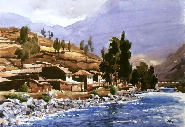 Comprar Village on the bank - Pintura de Oscar Cuadros por 4.867,00 ARS (2015/03/21) en Artelista.com, con gastos de envío y devolución gratuitos a todo el mundo