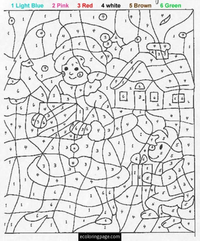 color by numbers girl and dog with presents - Coloring Pages Number Girls