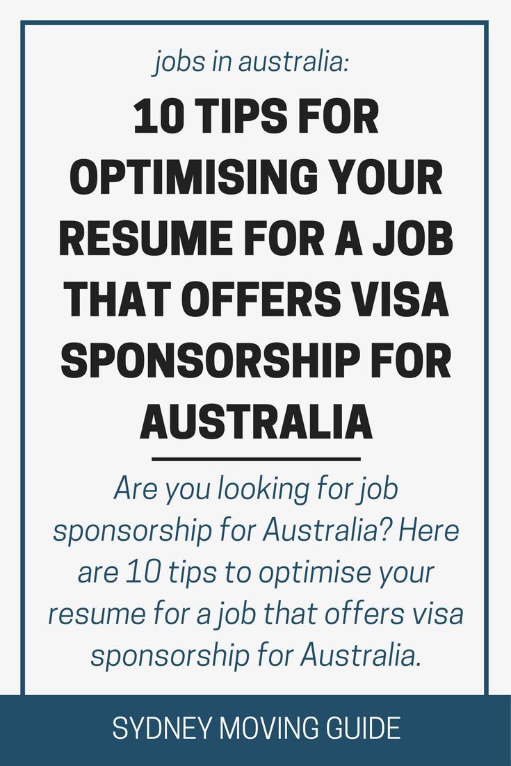 10 tips to optimizing your resume for australian sponsorship