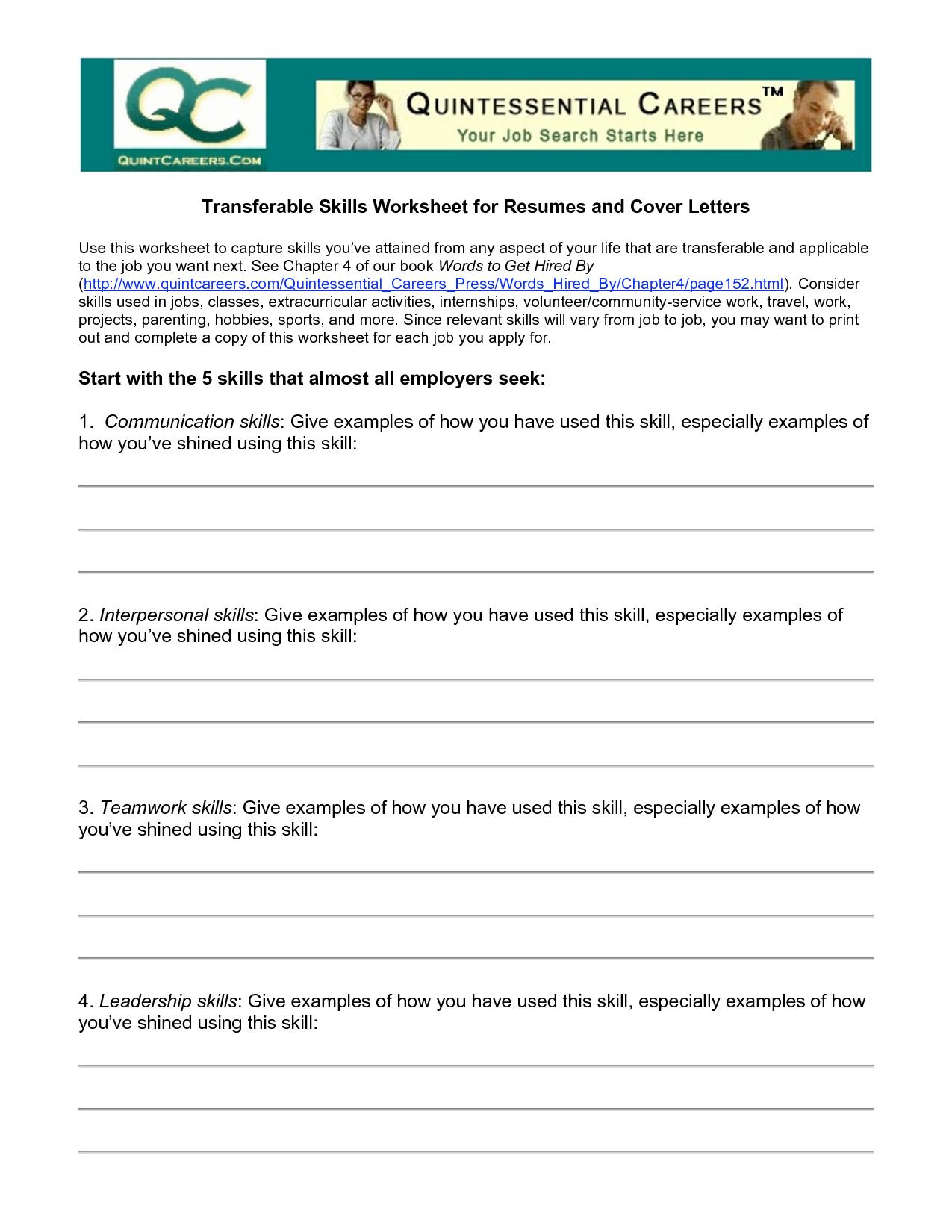 Worksheets Transferable Skills Worksheet skills worksheet delibertad transferable delibertad
