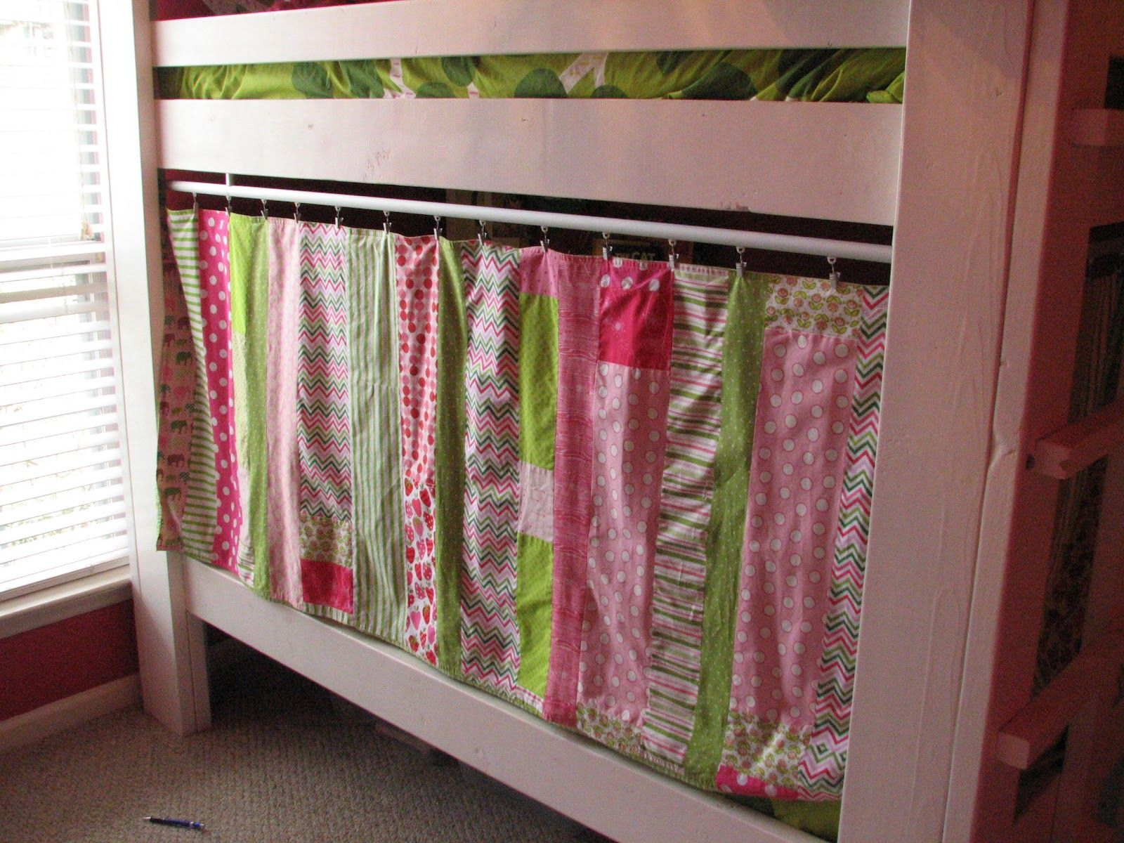 Bunk bed privacy and nice idea for simple bookshelf and lighting