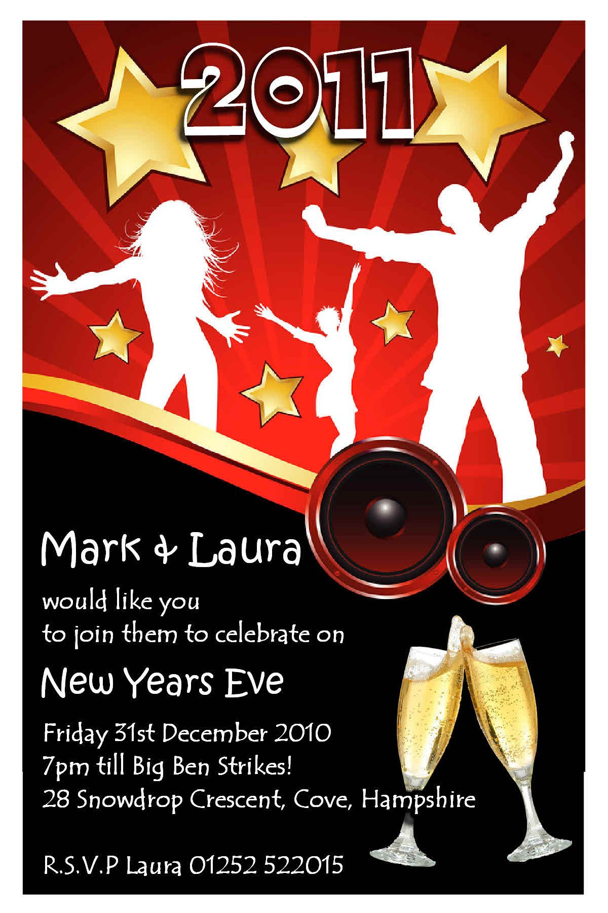 10 personalised new year party invitations, 1200x1800 in 187.1kb, Party invitations