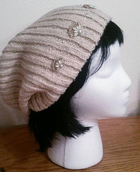 528e71fc0 How to wear a slouchie beanie. Swarovski Jeweled Cream Rhinestone ...