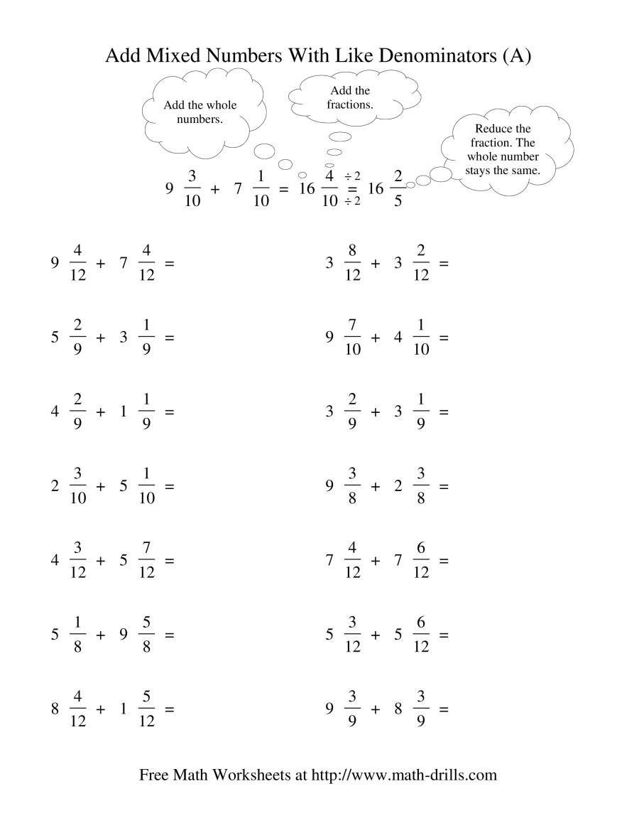 The Adding Mixed Fractions Like Denominators Reducing No Renaming A Math Worksheet Fractions Worksheets Adding Mixed Number Fractions