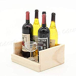 Miniature Wine Crate with Wine Bottles and Goblet Dollhouse Kitchen Accessories #dollhouseaccessories