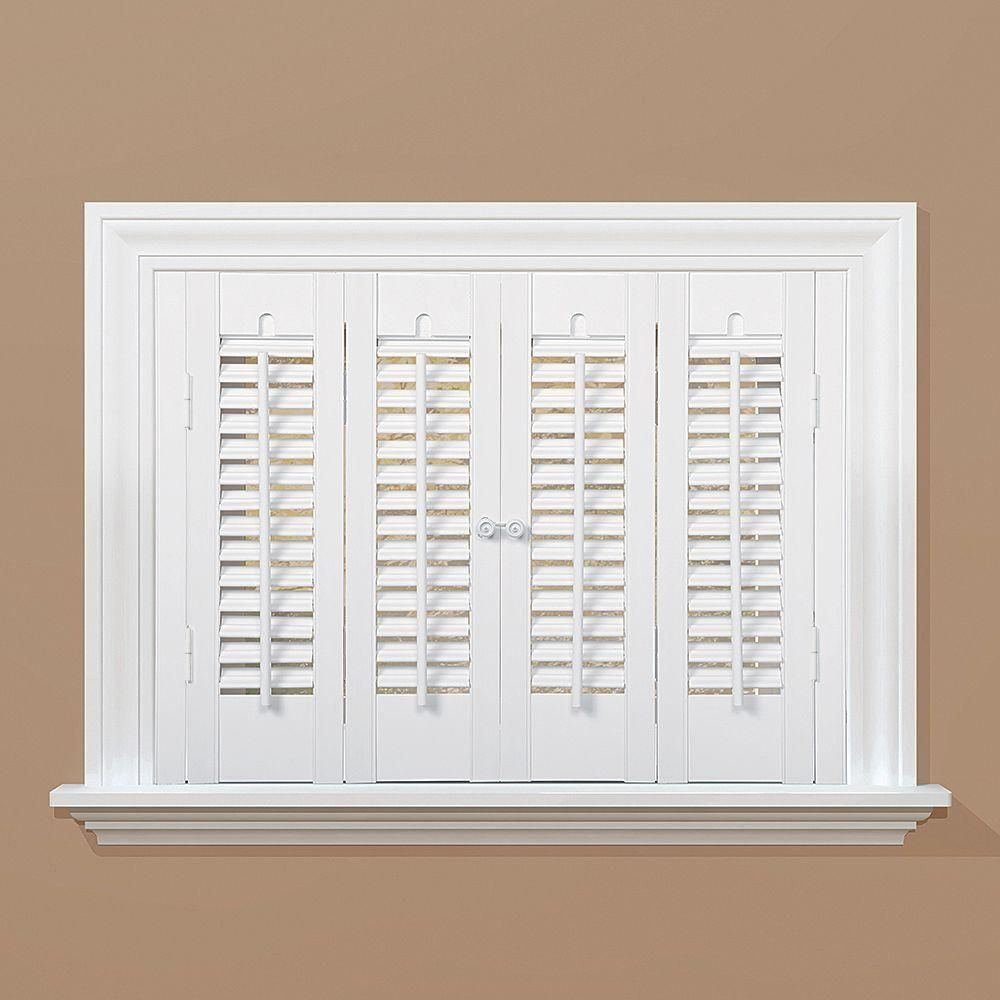 Home Basics White 1 1 4 In Traditional Faux Wood Interior Shutter 23 To 25 In W X 20 In L Qsta2320 The Home Depot Interior Shutters Wood Shutters Interior Wood Shutters