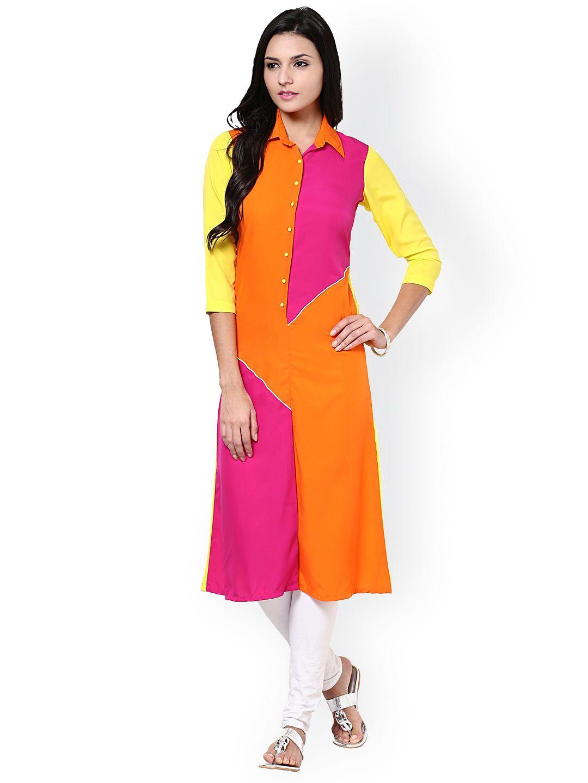 18bdcf832d La Firangi Neon Color Block Kurta #Neon #ColorBlock #Orange #Pink  #Shirtcollar #Kurta #Kurtis #Casual #Solid #Festive #Dailywear
