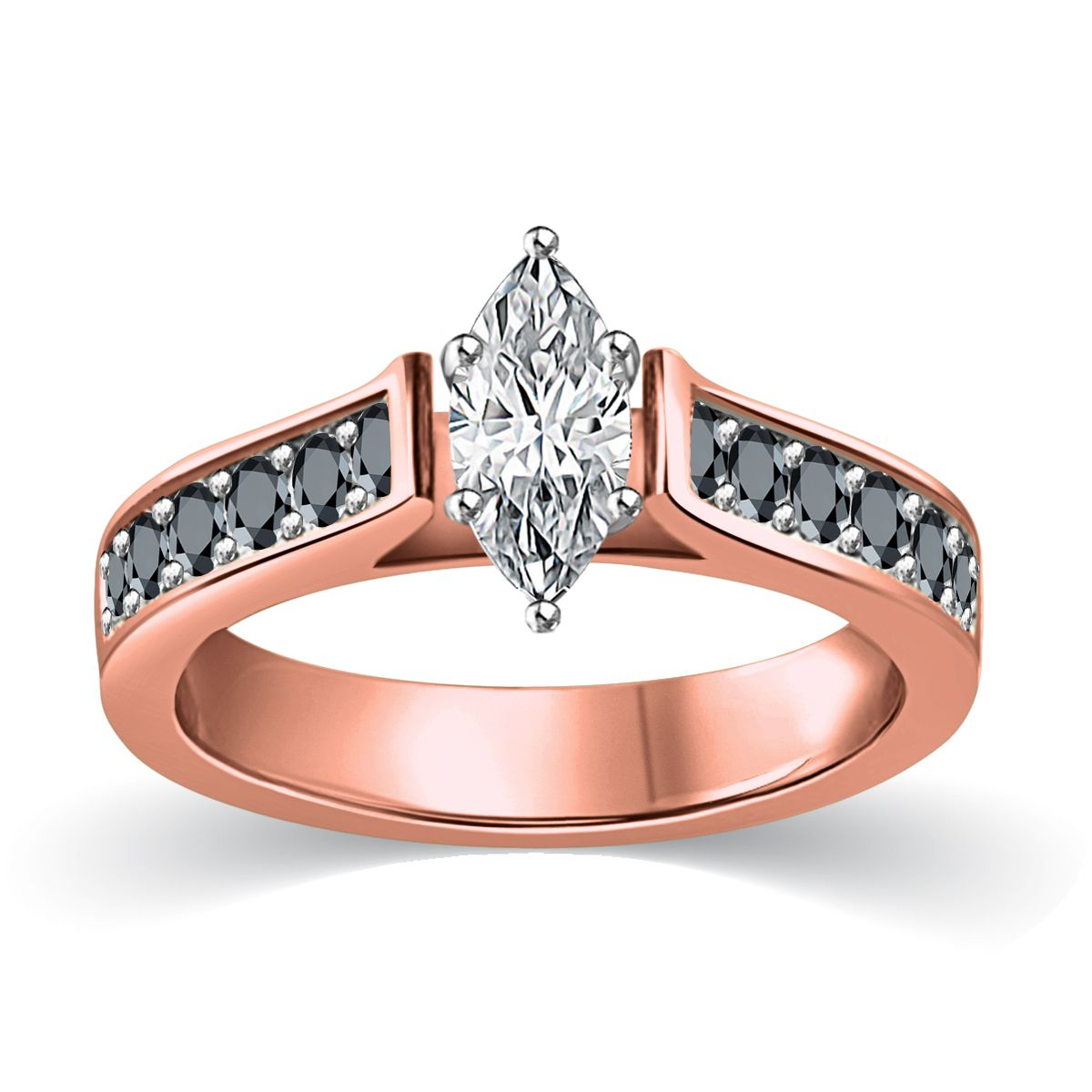 White and black diamond engagement ring marquise cut in rose gold