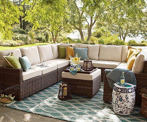 Ideas For Sectional With Pillows Rug Ottoman Garden