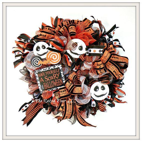 Halloween Wreath  Jack Skellington Wreath  by TheNakedDoorLLC